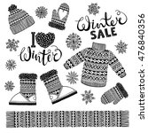 set drawings knitted woolen... | Shutterstock .eps vector #476840356
