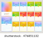 calendar for the year 2017.... | Shutterstock .eps vector #476851132