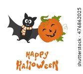 cute  cartoon  pumpkin  and bat.... | Shutterstock .eps vector #476862025