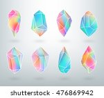 set of colored crystals in... | Shutterstock .eps vector #476869942