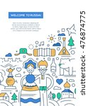 welcome to russia   vector line ... | Shutterstock .eps vector #476874775