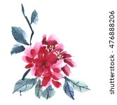 Watercolor Red Peony Flower...