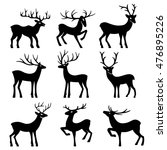 nine black deer set silhouettes ... | Shutterstock . vector #476895226
