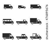 van  truck vector icons. simple ...