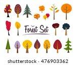 vector autumn color forest set. ...