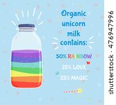 unicorn milk in bottle cartoon...   Shutterstock .eps vector #476947996