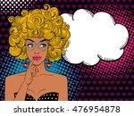 pop art female face. sexy... | Shutterstock .eps vector #476954878