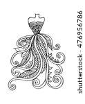 hand drawn elegant woman dress. | Shutterstock .eps vector #476956786