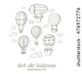 hot air balloons doodle set.... | Shutterstock .eps vector #476972776