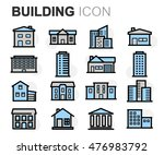 vector flat line building icons ... | Shutterstock .eps vector #476983792