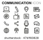 vector black line communication ... | Shutterstock .eps vector #476983828