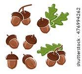 acorns set. vector | Shutterstock .eps vector #476994262