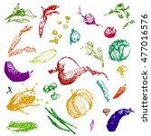 hand drawn doodle food ... | Shutterstock .eps vector #477016576