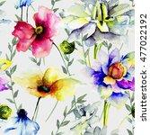 floral seamless wallpaper ...   Shutterstock . vector #477022192