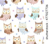 watercolor owls and dots... | Shutterstock . vector #477027736