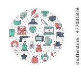 vector set of movie genres line ... | Shutterstock .eps vector #477031876