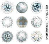 set of vector low poly... | Shutterstock .eps vector #477036505