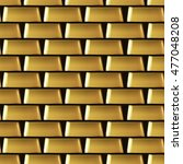 wall of many gold bars... | Shutterstock .eps vector #477048208