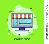 thin line flat design of online ...   Shutterstock .eps vector #477048772