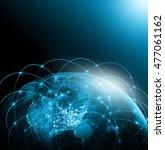 world map on a technological... | Shutterstock . vector #477061162