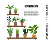 flat style house plants and... | Shutterstock .eps vector #477065356