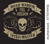tee skull motorcycle graphic... | Shutterstock . vector #477074956