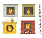 set of vector fireplace icons... | Shutterstock .eps vector #477089095