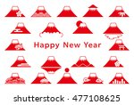 set of mt. fuji icons. new year'... | Shutterstock .eps vector #477108625