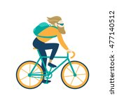 bicycle messenger bearded guy... | Shutterstock .eps vector #477140512