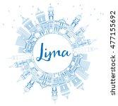 outline lima skyline with blue