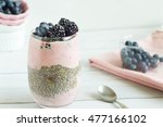 layered chia pudding with sour... | Shutterstock . vector #477166102