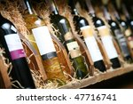 Closeup Shot Wine Shelf Bottles - Fine Art prints