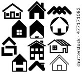 houses icons set. real estate....   Shutterstock .eps vector #477171082
