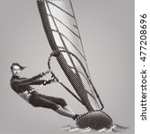 windsurfing. vector artwork in... | Shutterstock .eps vector #477208696