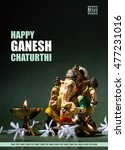 Small photo of Happy Ganesh Chaturthi Greeting Card design with lord ganesha idol