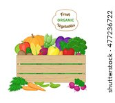 harvest in a wooden box.  crate ... | Shutterstock .eps vector #477236722