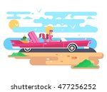 blonde in a cabriolet on... | Shutterstock .eps vector #477256252