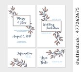 set of wedding card with hand... | Shutterstock .eps vector #477262675
