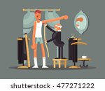 taking measures at tailor shop | Shutterstock .eps vector #477271222