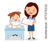 teacher and school girl. vector ... | Shutterstock .eps vector #477275212