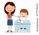teacher and school boy.  vector ... | Shutterstock .eps vector #477275215