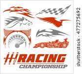 set of racing stickers.... | Shutterstock .eps vector #477275692