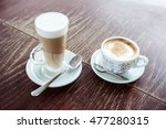 two coffee in wood table  latte ... | Shutterstock . vector #477280315
