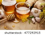 honey  garlic  herbs  lemon and ... | Shutterstock . vector #477292915