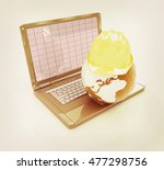 hard hat and earth on a laptop...   Shutterstock . vector #477298756