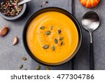 pumpkin and carrot soup with... | Shutterstock . vector #477304786