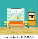 retro living room with...   Shutterstock .eps vector #477340642