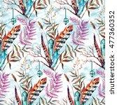 watercolor boho chic design... | Shutterstock . vector #477360352