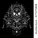 mystic skull design . graphic... | Shutterstock . vector #477375808