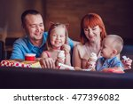 happy family eating ice cream... | Shutterstock . vector #477396082